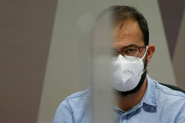 O servidor Luis Ricardo Miranda durante depoimento na CPI da Covid