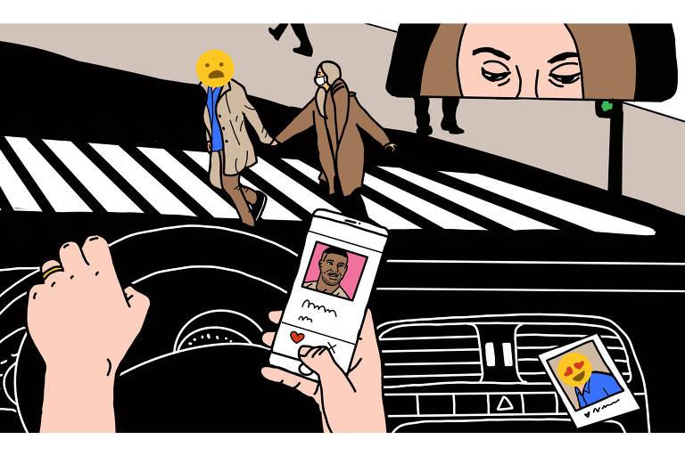 Ilustração de Carolina Daffara traz uma mulher dentro de um carro, com uma foto de seu marido presa no painel, enquanto checa um aplicativo de namoro no celular; ao mesmo tempo, o marido atravessa a rua em sua frente, de mãos dadas com sua amante