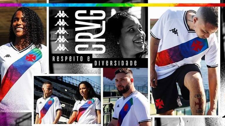 Vasco utilizará camisa especial com a faixa nas cores do arco-íris contra o Brusque, parte de ação para o Dia do Orgulho LGBTQIA+