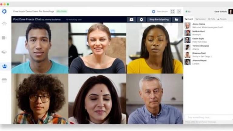 Seis pessoas participam de uma reunião virtual