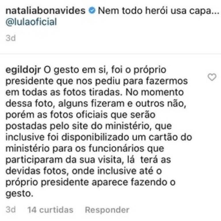 Comentário de trabalhador que tirou foto com o presidente Jair Bolsonaro no RN
