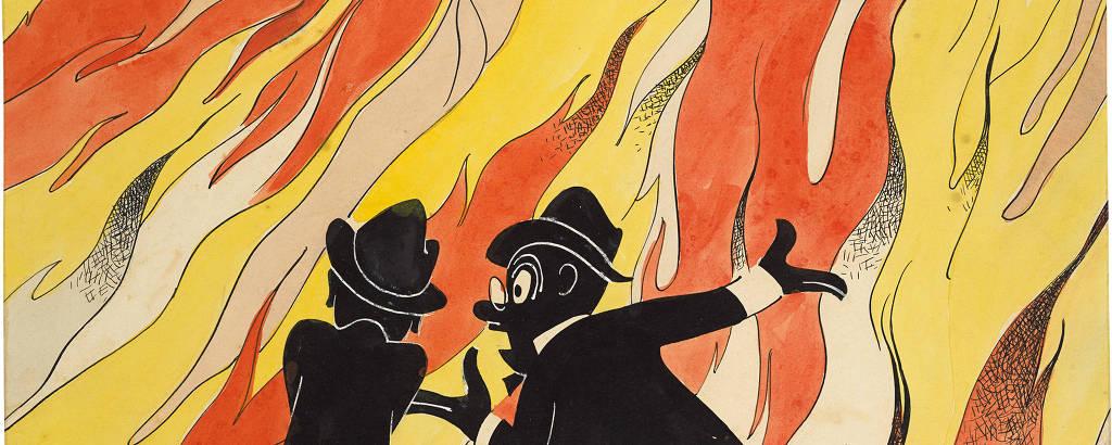Ilustração de dois homens em preto de frente para um incêndio