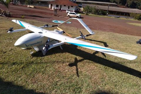 Drones em testes da BRF para transporte de sêmen de suínos em parceria com a startup speedbird ( Foto: Divulgação )