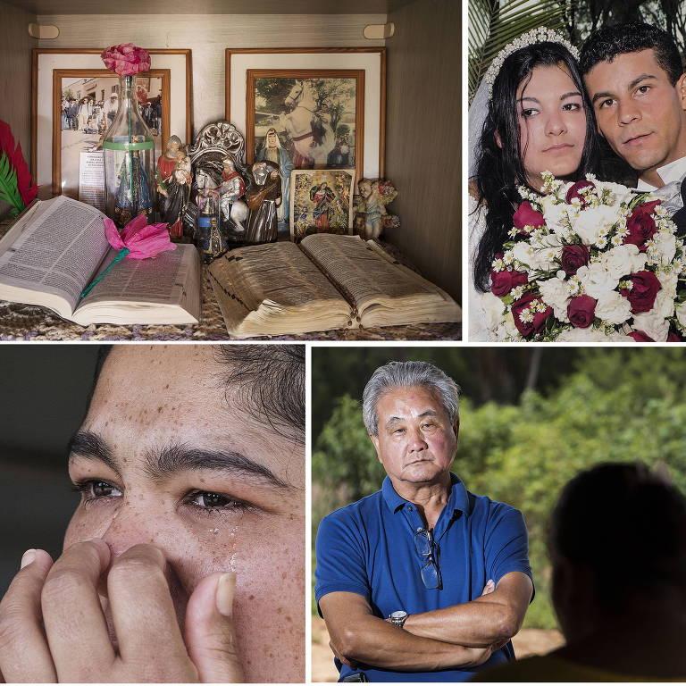 Detalhes da casa de José Aparecido; a esposa, Vanessa; e o advogado do trabalhador rural, Nagashi Furukawa