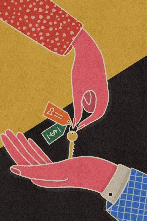 desenho mostra uma mão entregando uma chave a outra