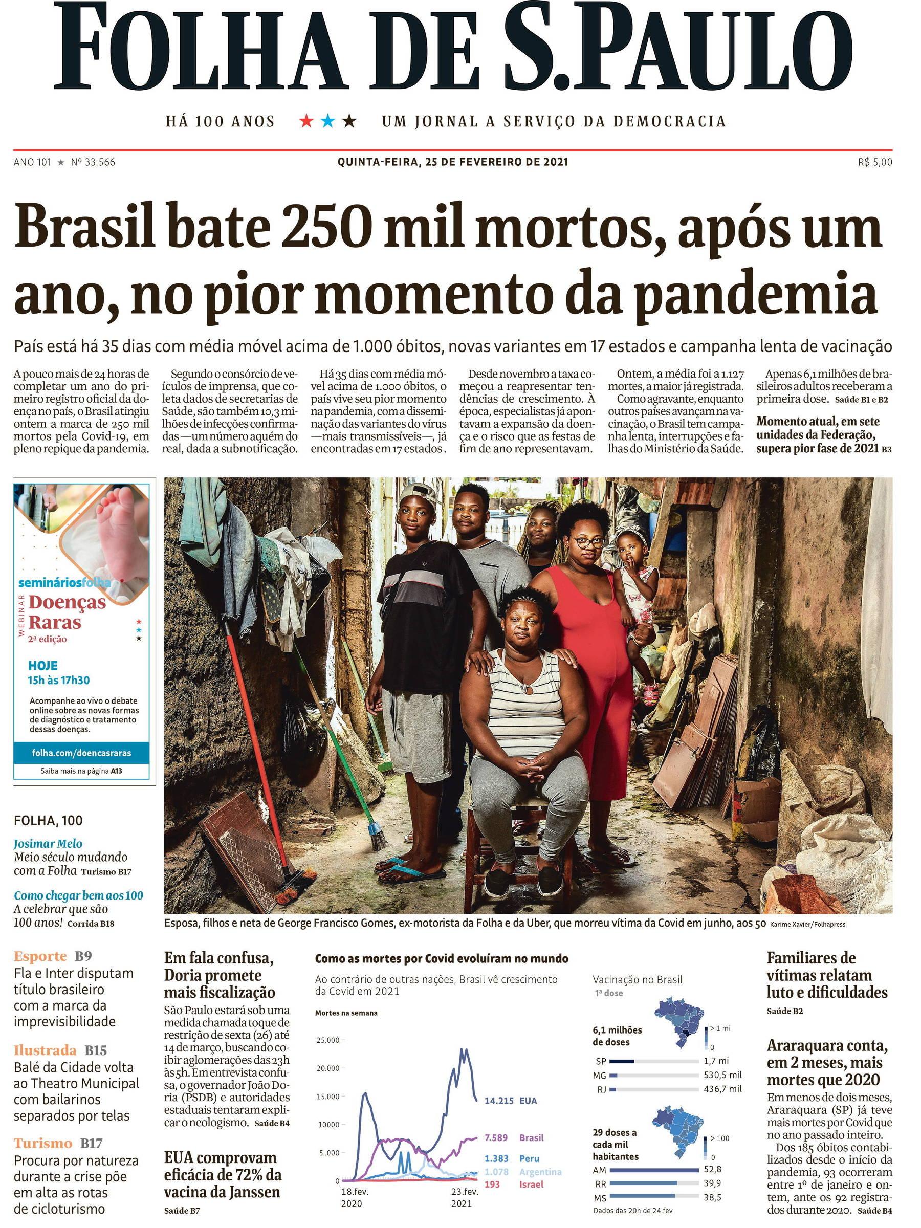 A Primeira Página da Folha no dia da oferta de propina para compra de vacinas em restaurante de Brasília
