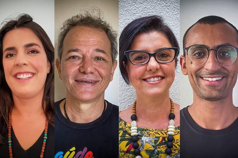 quatro pessoas sorriem para foto, sendo duas mulheres e dois homens