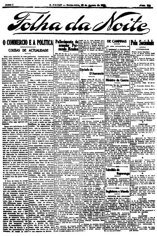 Primeira Página da Folha da Noite de 26 de agosto de 1921
