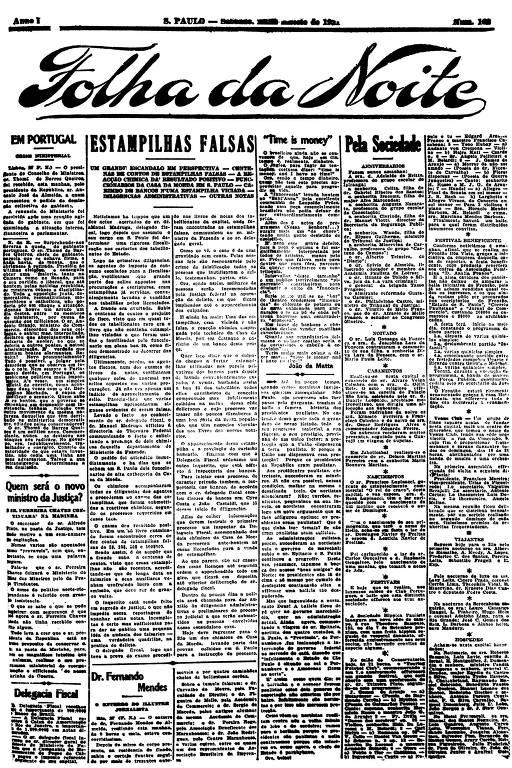 Primeira Página da Folha da Noite de 27 de agosto de 1921