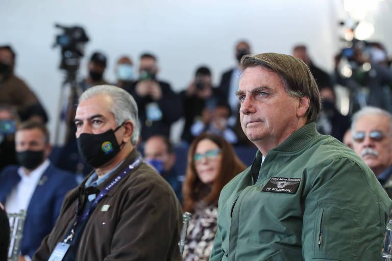 O presidente Jair Bolsonaro durante evento em Ponta Porã (MS) nesta quarta-feira (30)