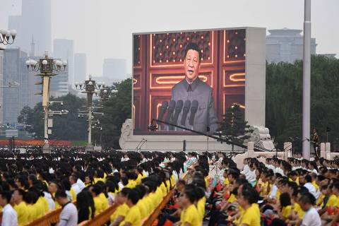 Chinese President Xi Jinping delivers a speech during the celebrations of the 100th anniversary of the founding of the Communist Party of China at Tiananmen Square in Beijing on July 1, 2021. (Photo by WANG Zhao / AFP)