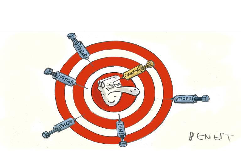 Na imagem há um alvo e, em seu centro, o rosto do presidente Jair Bolsonaro acertado na testa com uma seringa de vacina onde se lê Covaxin; ao redor do alvo há outras seringas, onde se lê Pfizer