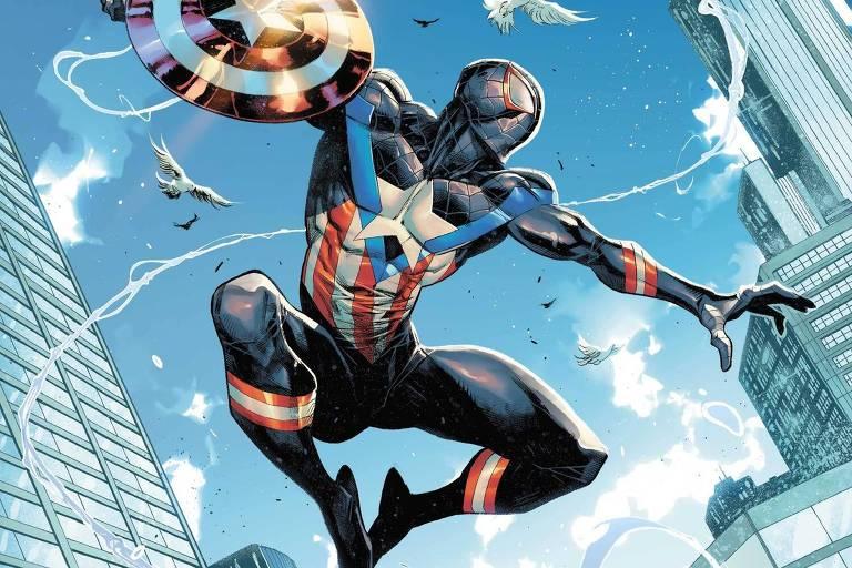 Desenho do Homem-Aranha vestindo trajes nas cores azul e vermelho com uma estrela branca e segurando um escudo