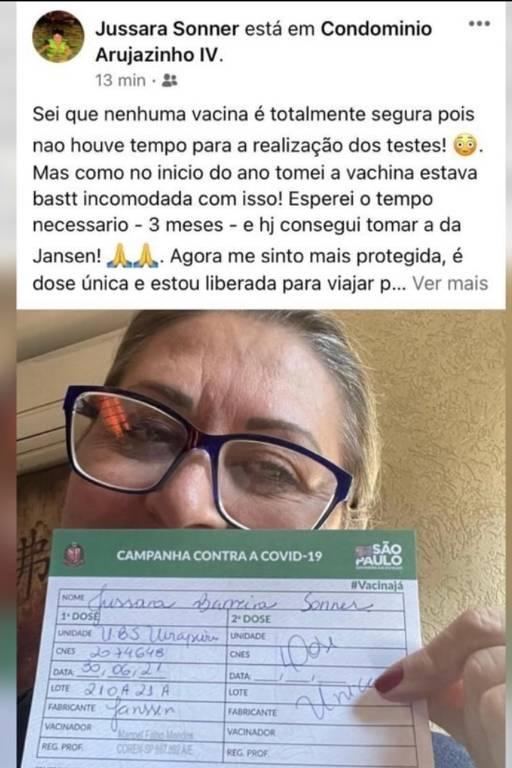 Publicação em rede social do perfil da veterinária Jussara Sonner