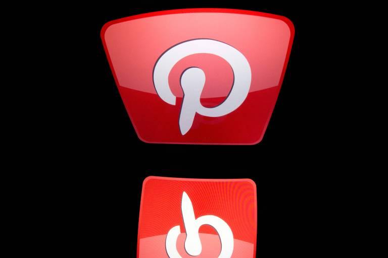 Logo do aplicativo Pinterest tem letra branca sobre funco vermelho