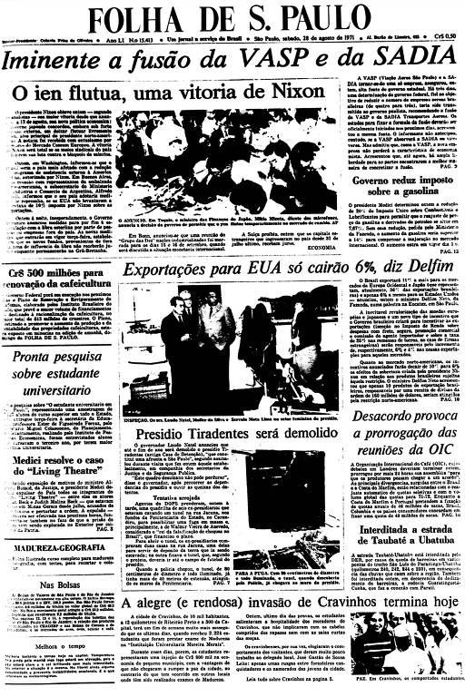 Primeira Página da Folha de 28 de agosto de 1971