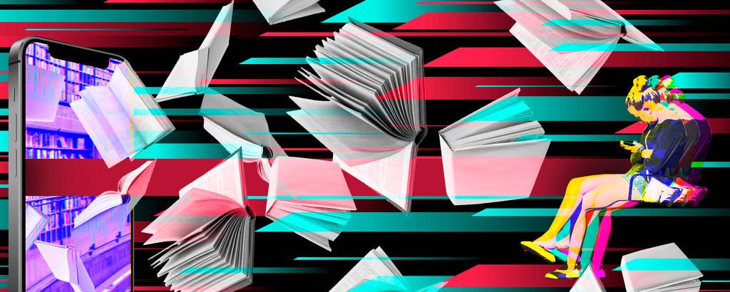 Imagem colorida com livros caindo de um celular