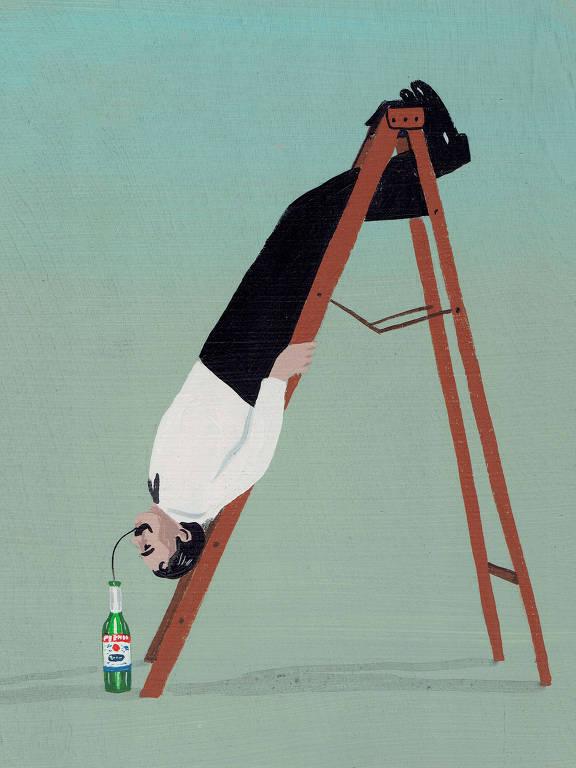 Marcel Proust de ponta cabeça em uma escada bebendo com um canudo de uma garrafa