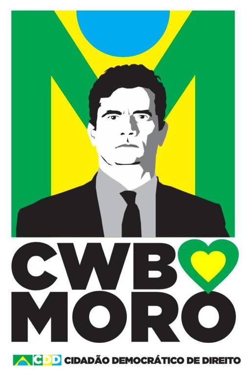 Adesivo criado pelo empresário Fabio Aguayo fazendo referência a Moro e a Curitiba