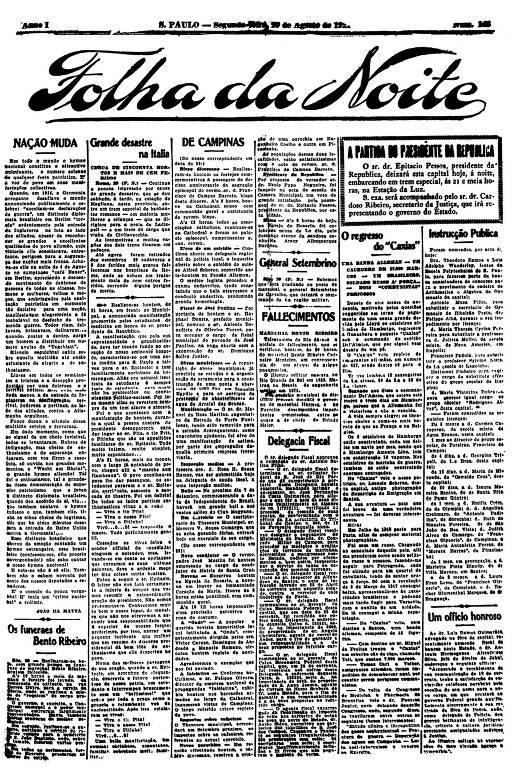 Primeira Página da Folha da Noite de 29 de agosto de 1921