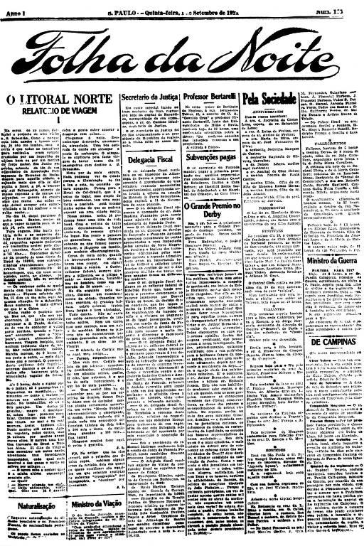 Primeira Página da Folha da Noite de 1º setembro de 1921