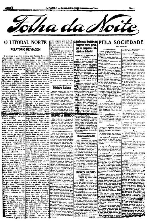 Primeira Página da Folha da Noite de 2 setembro de 1921
