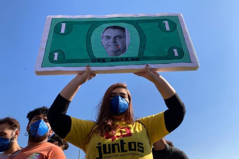 Cartazes marcam manifestações contra Bolsonaro  - 03.07.21