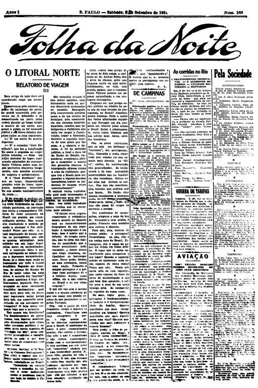 Primeira Página da Folha da Noite de 3 setembro de 1921