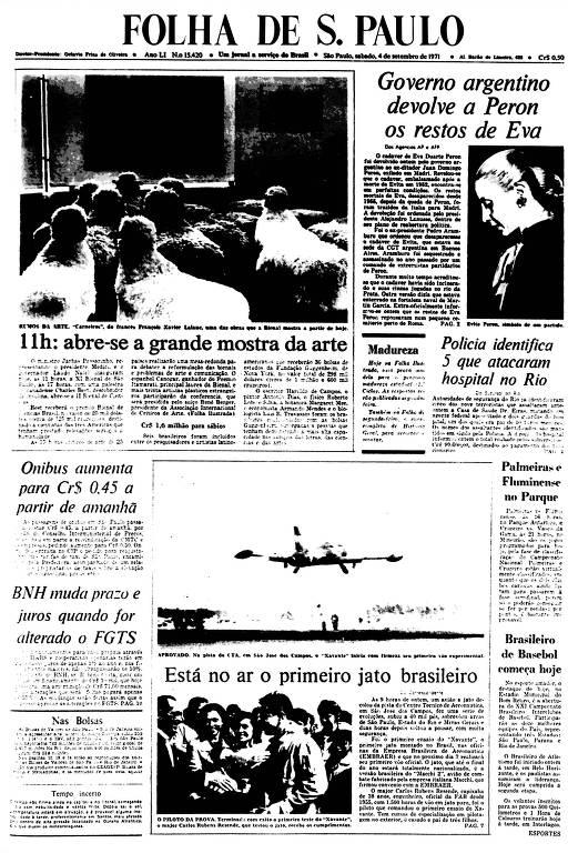 Primeira Página da Folha de 4 setembro de 1971