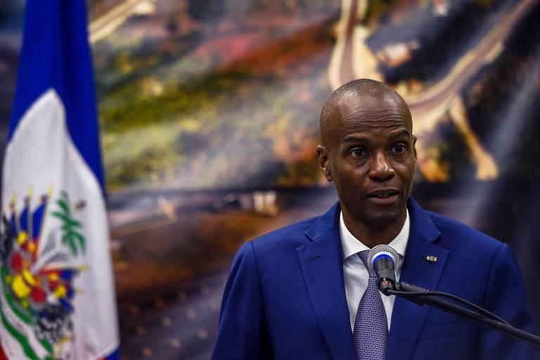 O presidente do Haiti, Jovenel Moïse, durante entrevista coletiva em Porto Príncipe