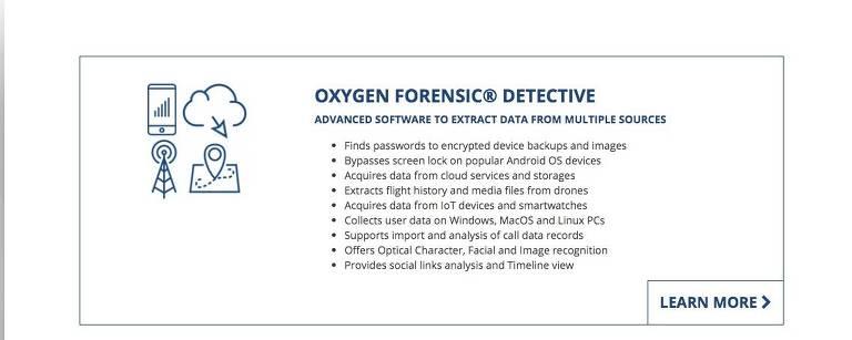 Serviço da Oxygen Forensic que oferece extração de dados de celulares Android bloqueados