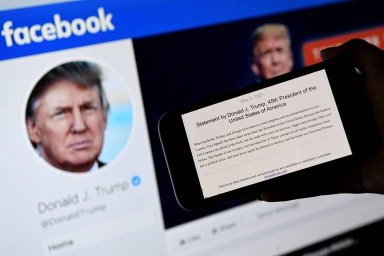 Texto mostra comunicado de Donald Trump no qual ex-presidente afirma que ações de Facebook, Twitter e Google são 'vergonha total e um constrangimento para o nosso país'