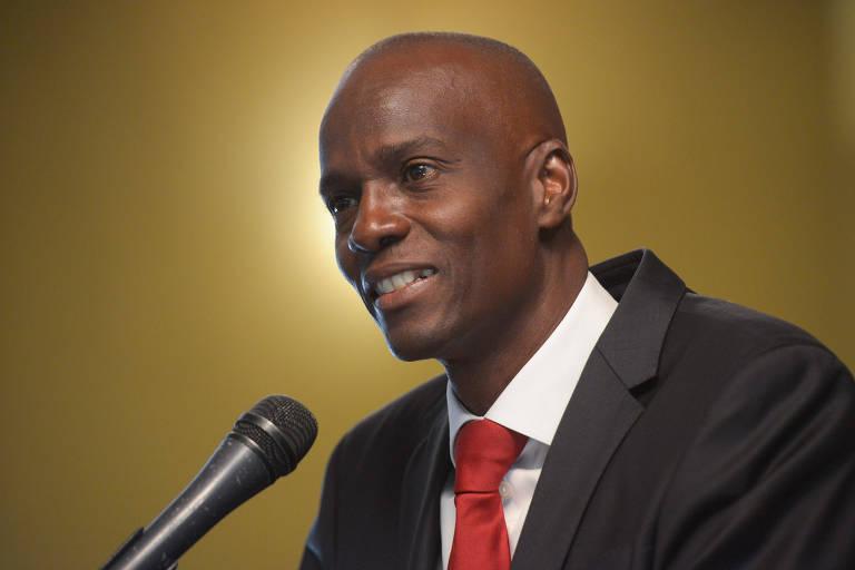 O então candidato à Presidência do Haiti Jovenel Moise durante entrevista coletiva em Porto Príncipe