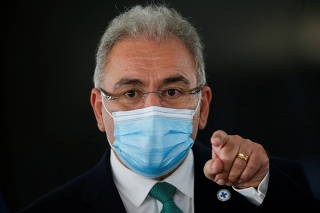 Brazil's Health Minister Marcelo Queiroga attends a news conference in Brasilia