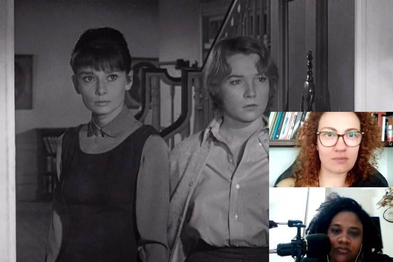 Na tela central do Zoom, imagem de filme preto e branco com duas mulheres; na lateral inferior direita, duas pequenas telas de Zoom com outras duas mulheres que falam ao microfone