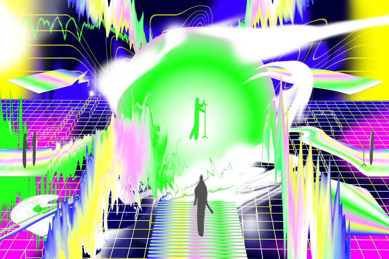 Arte com cores neon misturadas