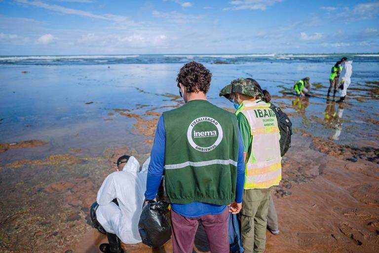 homens com colete do ibama recolhem mancha de óleo na beira do mar