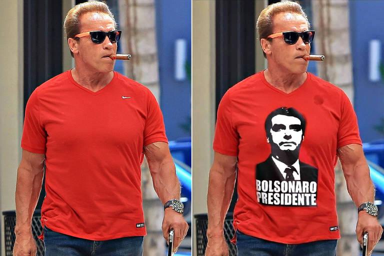 """À esquerda, o clique original: o ator caminha de camiseta vermelha lisa com um pequeno logo da Nike na altura do ombo; ele fuma um charuto e usa óculos escuros. À direita, a fotomontagem: a foto é a mesma, com a inserção de uma estampa com o retrato de Bolsonaro e a inscrição """"Bolsonaro presidente"""" na camiseta do ator"""