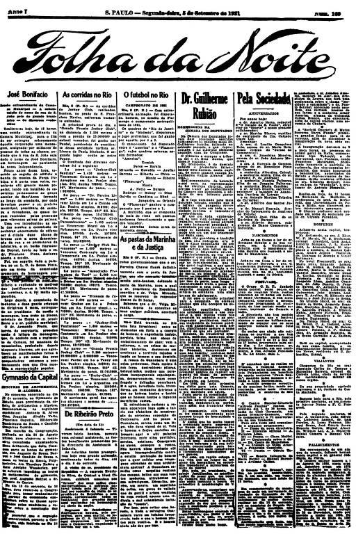Primeira Página da Folha da Noite de 5 setembro de 1921