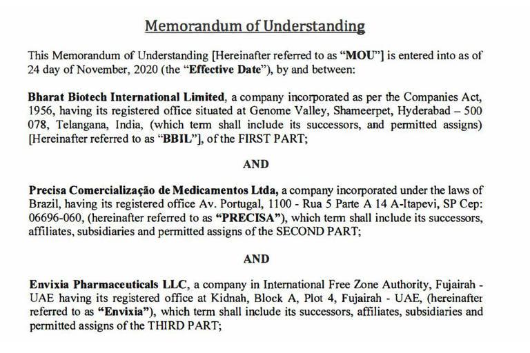 Memorando de entendimento de 24 de novembro de 2020 mostra a existência de uma segunda empresa intermediadora da vacina indiana Covaxin, a Envixia Pharmaceuticals, dos Emirados Árabes Unidos