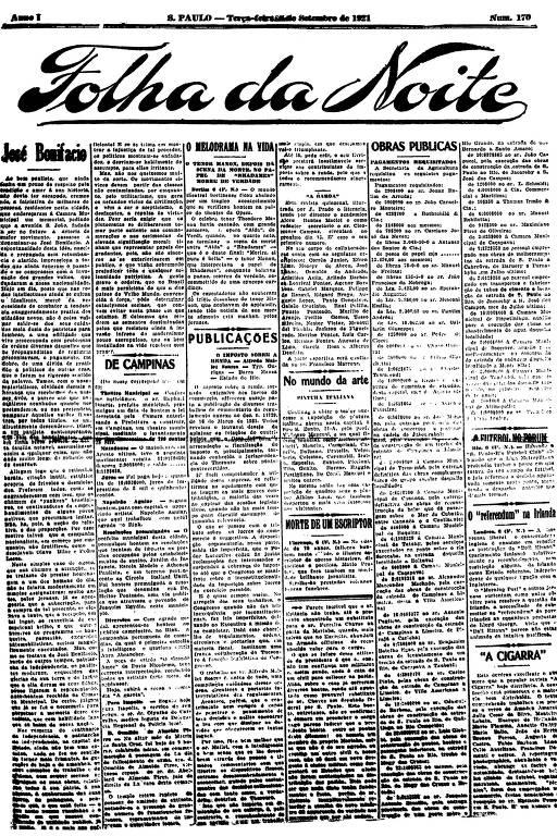Primeira Página da Folha da Noite de 6 setembro de 1921