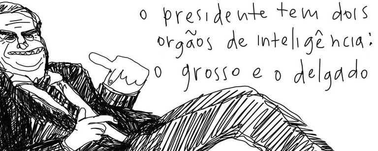 Desenho do Presidente Bolsonaro com a seguinte inscrição: o presidente tem dois órgão de inteligência: o grosso e o delgado