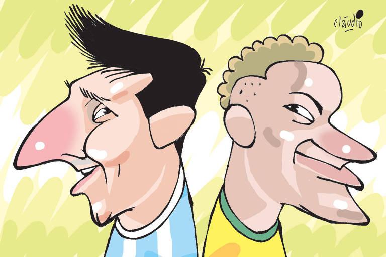 charge de Messi e Neymar de costas um para o outro com os uniformes das seleções que defendem