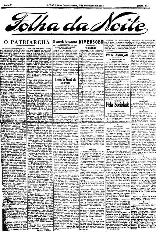 Primeira Página da Folha da Noite de 7 setembro de 1921