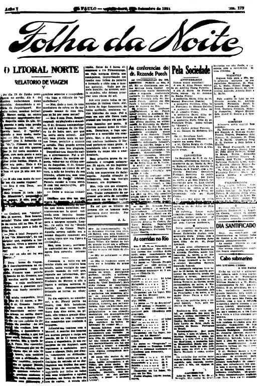 Primeira Página da Folha da Noite de 8 setembro de 1921