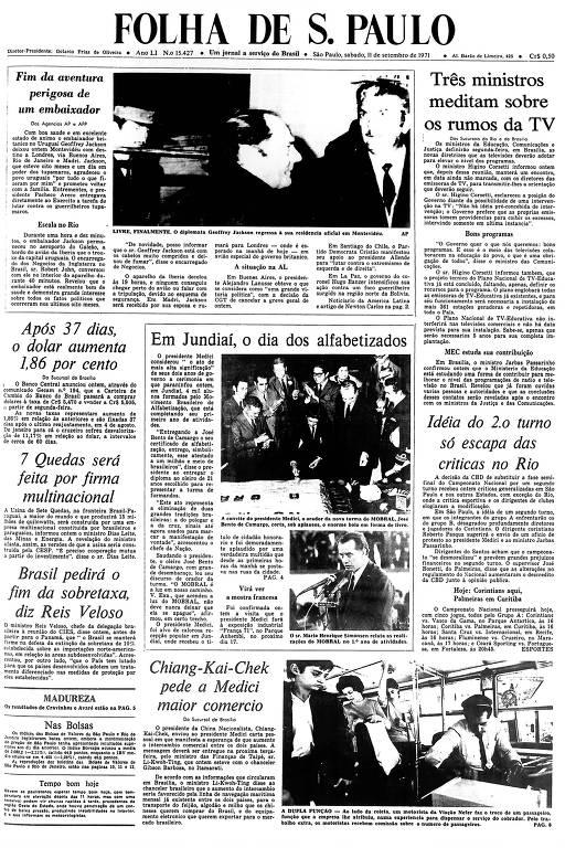Primeira Página da Folha de 11 setembro de 1971
