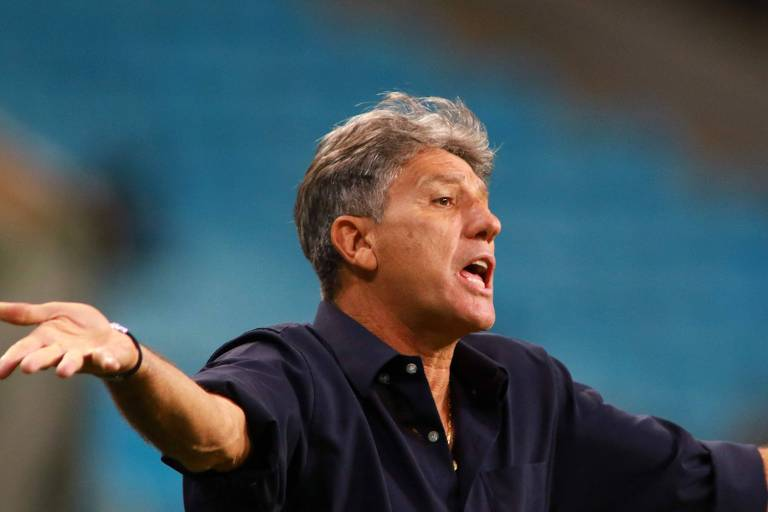 Técnico Renato Gáucho durante partida pelo Grêmio na Libertadores