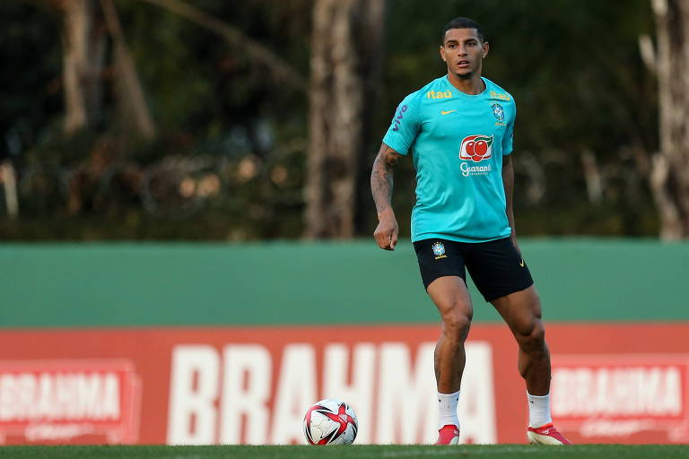 Diego Carlos em treinamento da seleção olímpica de futebol