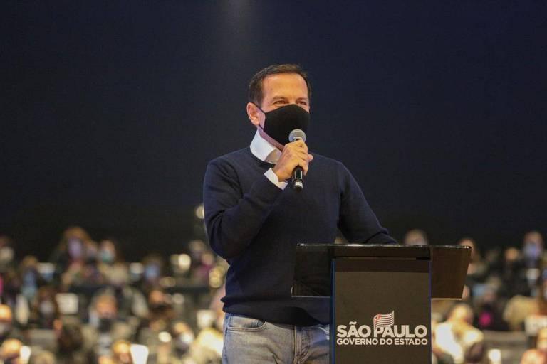 O governador de São Paulo, João Doria, que foi reinfectado pela Covid-19
