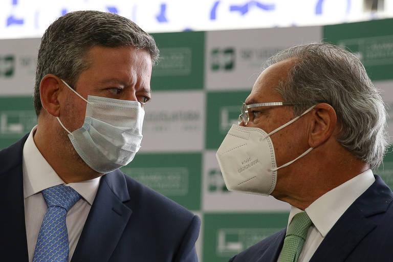Presidente da Câmara dos Deputados, Arthur Lira (PP-AL), e ministro Paulo Guedes (Economia)